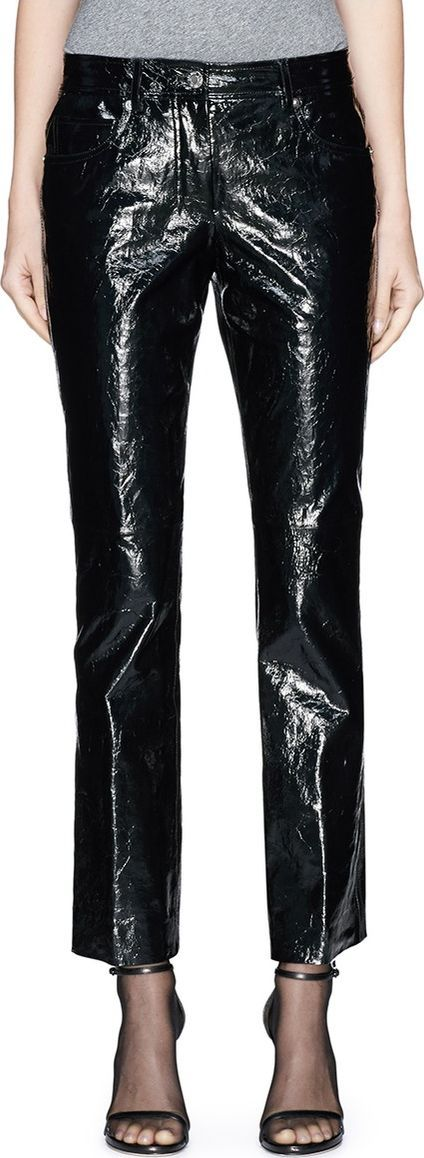 Helmut Lang Crack effect patent leather cropped pants