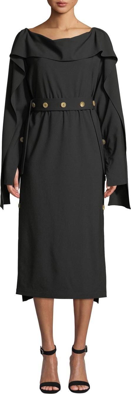 A.W.A.K.E Cutout-Back Long-Sleeve Button Midi Dress