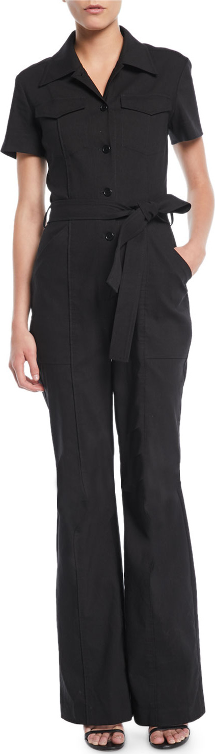A.L.C. Rivington Short-Sleeve Button-Front Belted Flared-Leg Jumpsuit