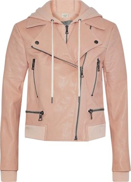 AO.LA by alice + olivia Avrel leather hooded biker jacket