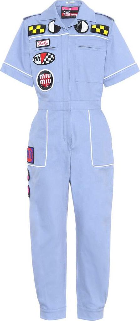 Miu Miu Appliqué cotton jumpsuit