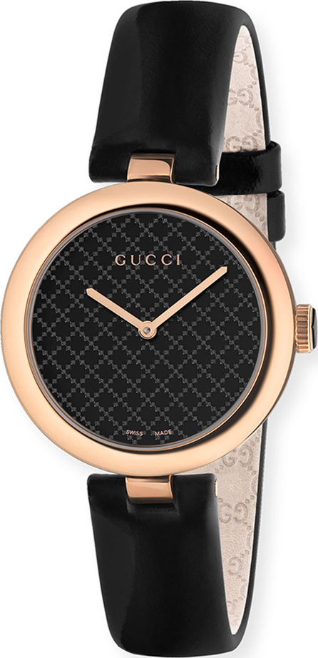 Gucci 32mm Diamantissima Watch with Leather Strap, Black/Rose