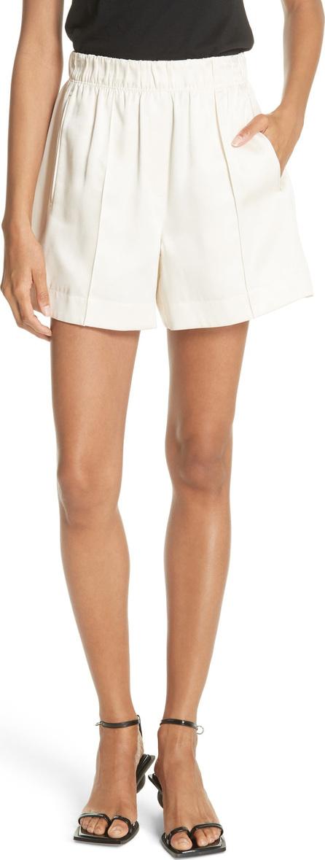 Helmut Lang Pleated Silk Blend Shorts