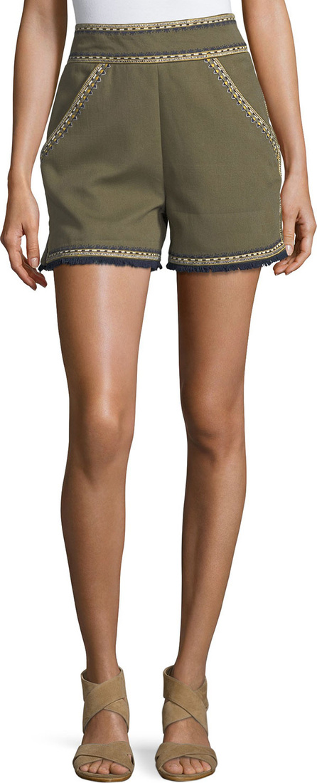 Talitha Embroidered High-Waist Shorts
