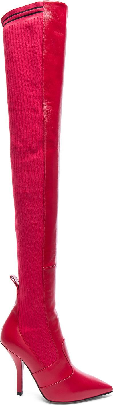 Fendi Rockoko Leather Over the Knee Boots