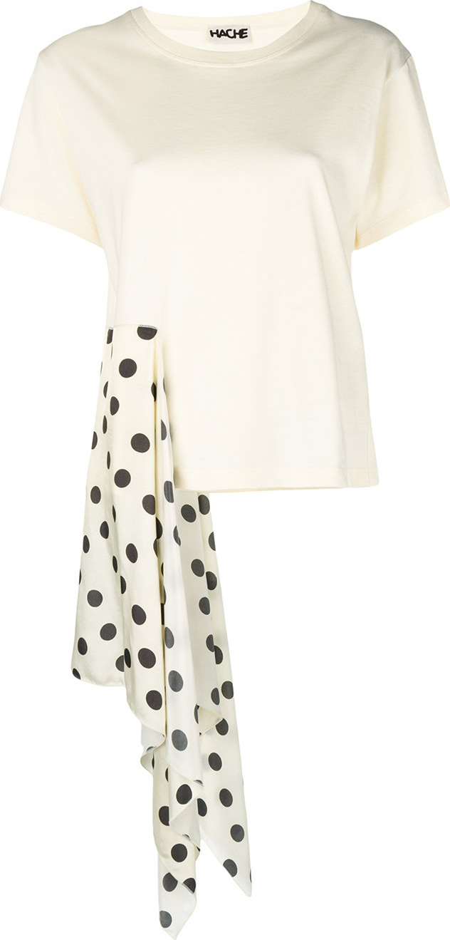 Hache - Polka dot draped detail T-shirt