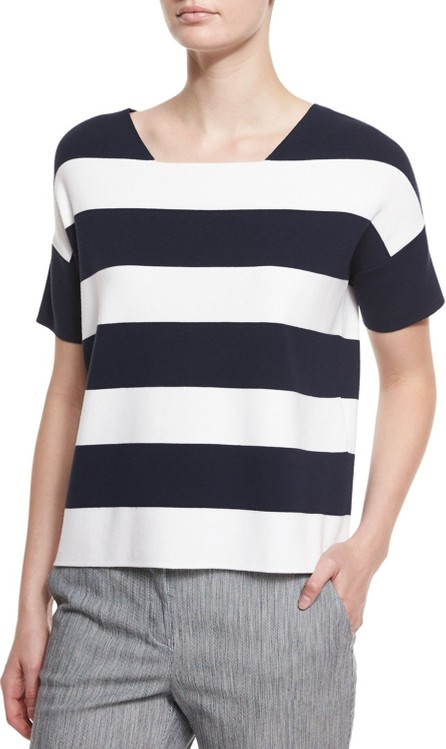Armani Collezioni Short-Sleeve Wide-Stripe Tee, Astral Multi