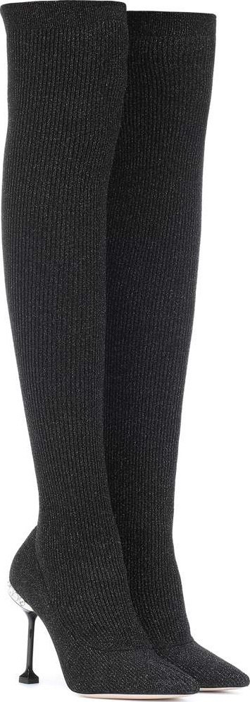 Miu Miu Ribbed knit over-the-knee boots