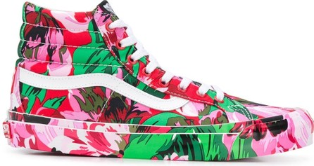 KENZO Abstract-floral print high-top sneakers