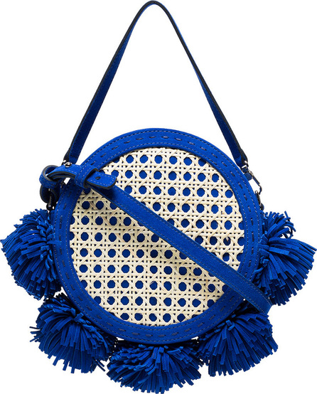 Mehry Mu Blue Tambourine suede and straw satchel bag