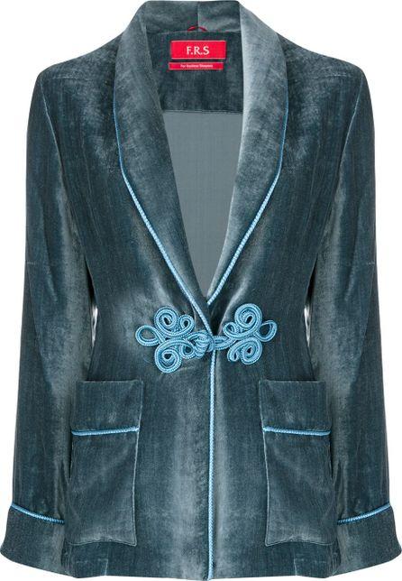 F.R.S For Restless Sleepers frogging trim velvet jacket