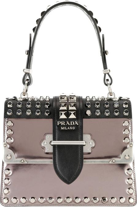 Prada Cahier Medium Studded Metallic/Saffiano Leather Top-Handle Bag
