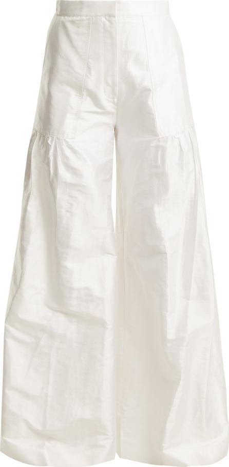 Duro Olowu High-rise wide-leg silk-taffeta trousers