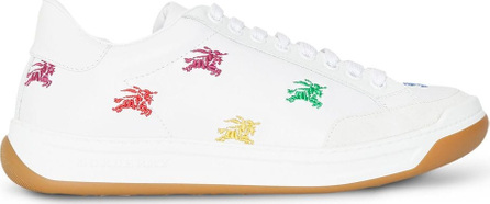 Burberry London England Equestrian Knight Embroidered Leather Sneakers