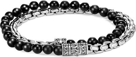 John Hardy 'Classic Chain' onyx silver double wrap bracelet