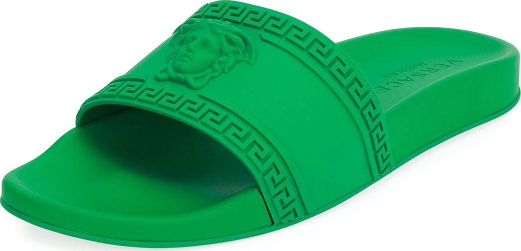 5b92289b7440 Versace Men s Medusa   Greek Key Shower Slide Sandals in Green - Mkt