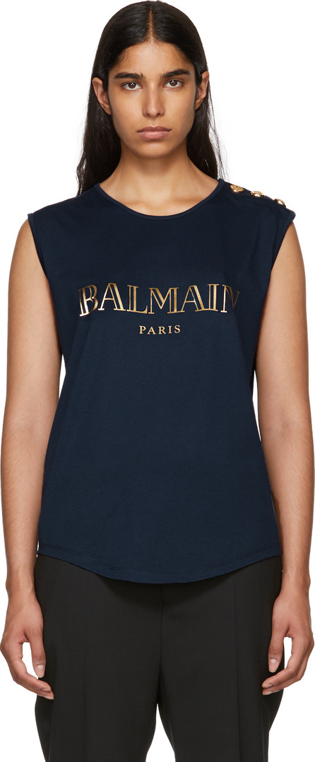 Balmain Navy Sleeveless T-Shirt