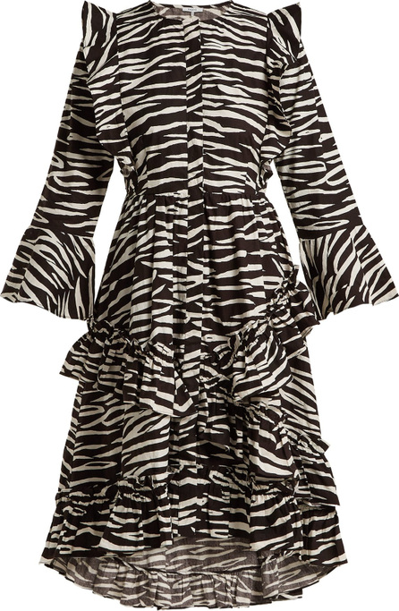 Ganni Faulkner zebra-print cotton midi dress