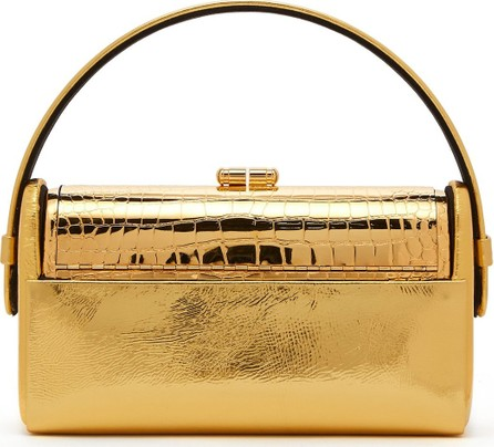 Bienen-Davis Régine leather and gold-plated minaudière clutch