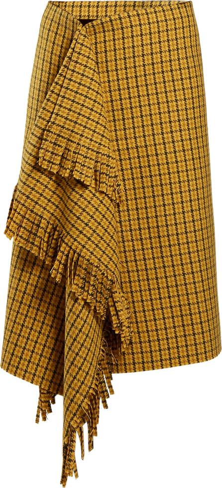 Balenciaga Ruffle-detail checked wool skirt