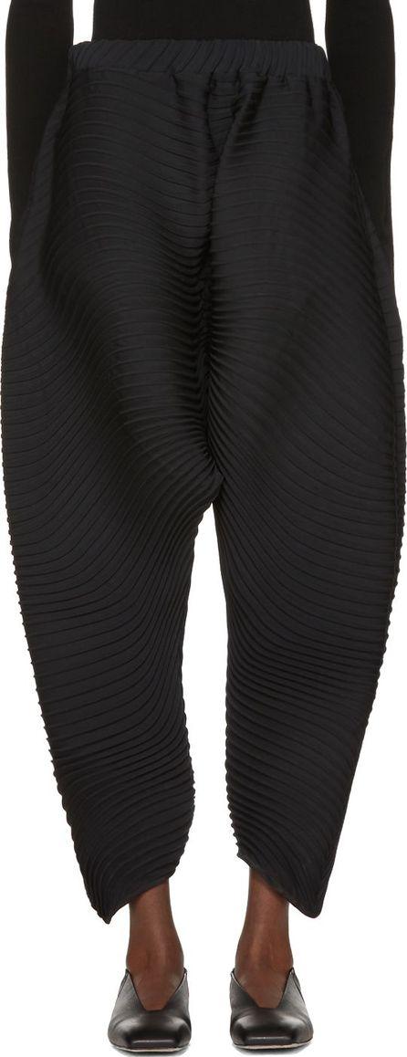 Issey Miyake Black Pleated Flow Lounge Pants