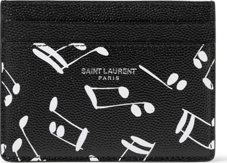 Saint Laurent Printed Pebble-Grain Leather Cardholder