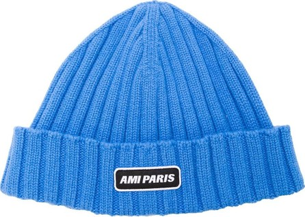 AMI Ribbed Beanie With Ami Paris Patch
