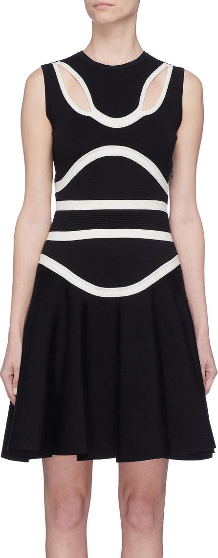 Alexander McQueen Cutout wavy stripe wool blend knit dress