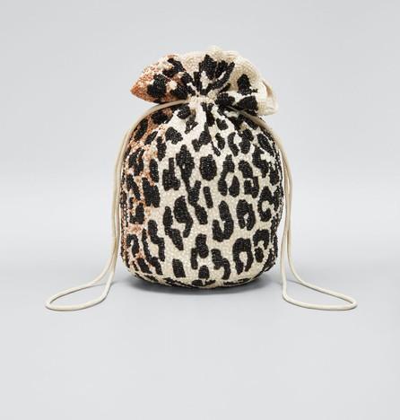 Ganni Hand-Beaded Leopard Bucket Bag
