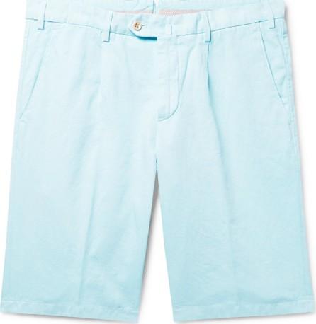 Loro Piana Slim-Fit Pleated Cotton and Linen-Blend Bermuda Shorts