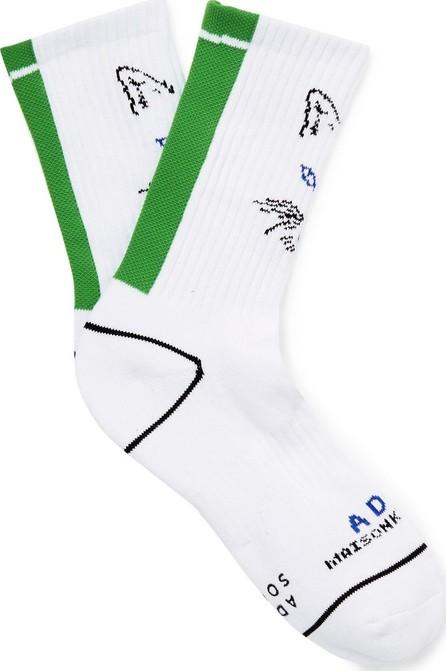 Maison Kitsune + ADER error Logo-Intarsia Cotton Socks