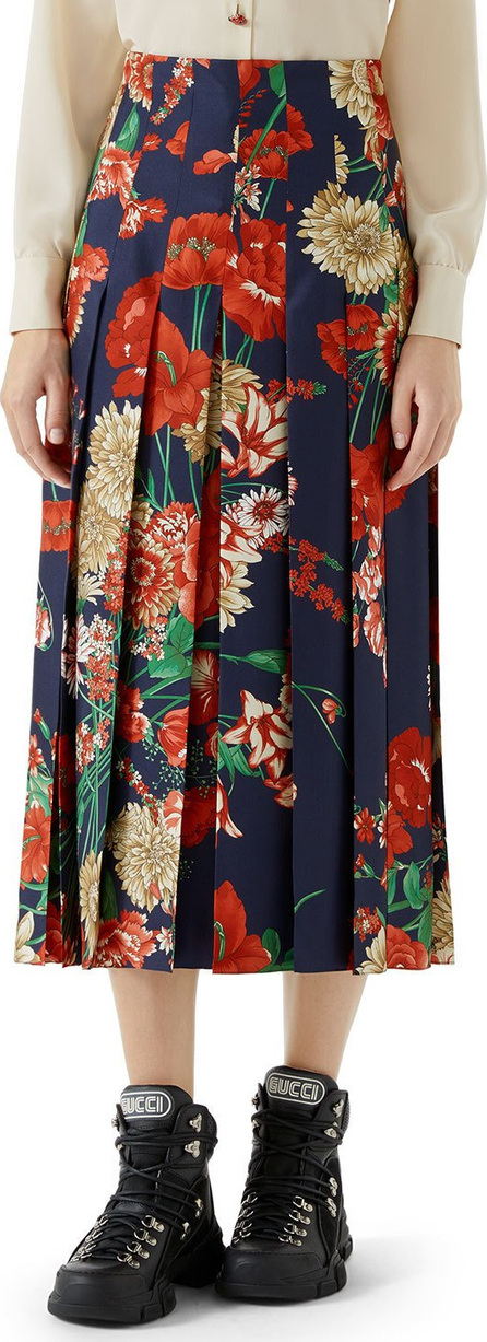 Gucci Pleated Spring Bouquet Silk Skirt