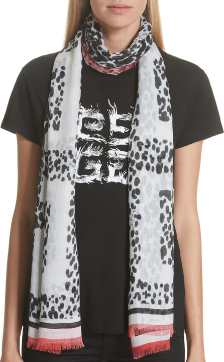 Givenchy 4G Leopard Cashmere & Silk Scarf