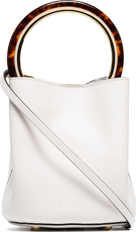 Marni White Panier resin handle leather bucket bag
