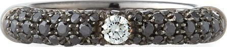 Adolfo Courrier 18K White Gold Diamond Ring with Black Diamonds, Size 6.75