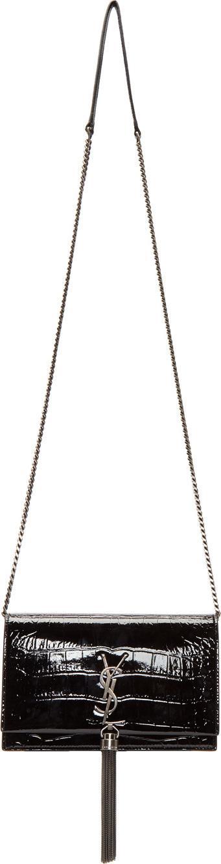 Saint Laurent Black Croc Kate Chain Tassel Wallet Bag