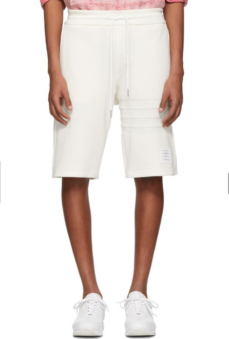 Thom Browne White Chunky Honeycomb Piqué 4-Bar Shorts