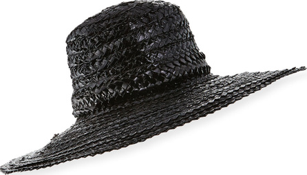Gigi Burris Taya Coated Straw Sun Hat, Black
