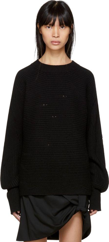 Helmut Lang Black Drop Needle Wide Crew Sweater