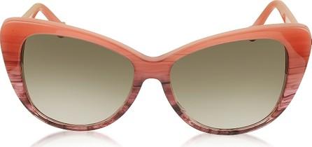 Balenciaga BA0016 44F Coral Striped Burgundy Cat Eye Women's Sunglasses