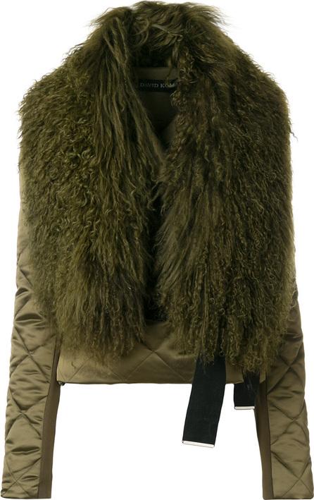 David Koma Quilted jacket with lamb fur collar