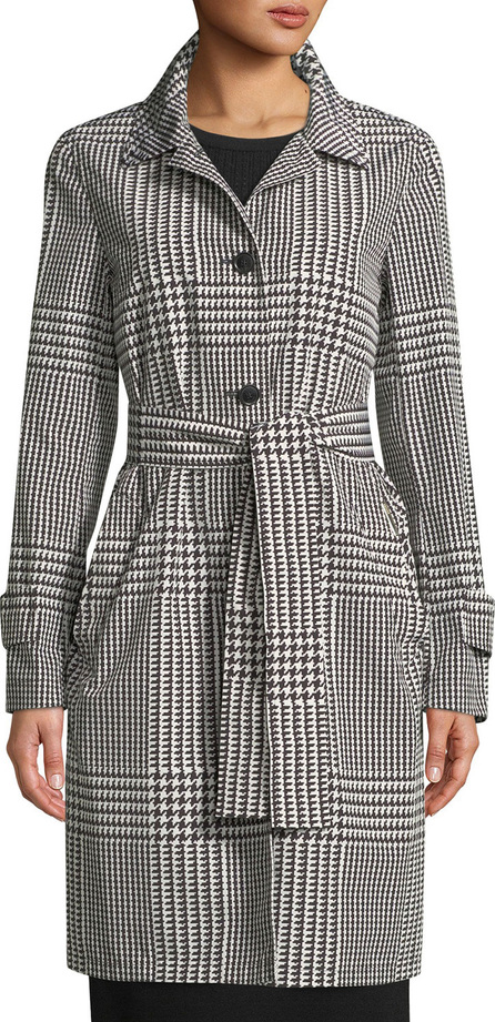 Escada Patchwork Houndstooth Trench Coat