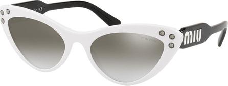 Miu Miu Two-Tone Mirrored Acetate Cat-Eye Sunglasses