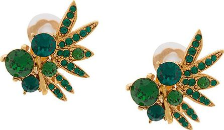 Oscar De La Renta Tropical palm button earrings