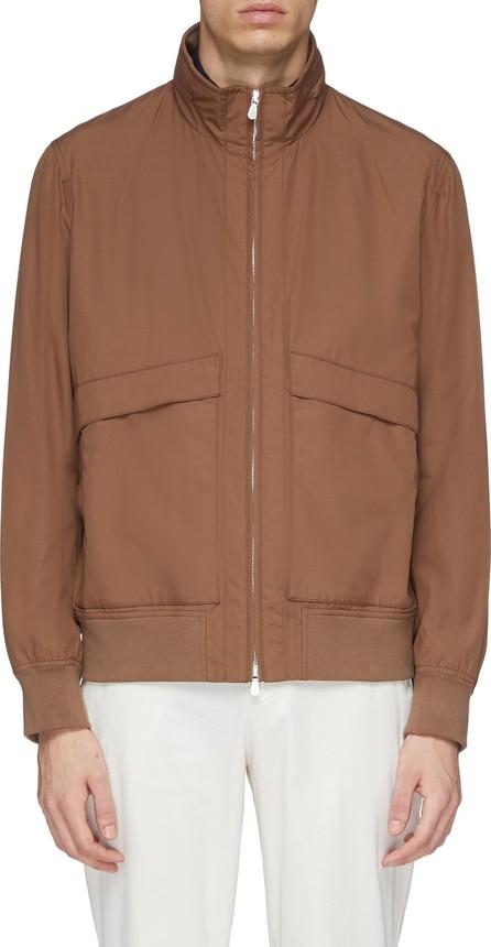 Brunello Cucinelli Retractable hood water-repellent varsity jacket