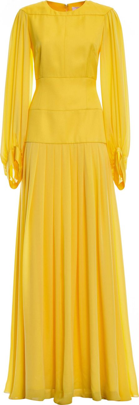 Genny Long Sleeve Pleated Gown