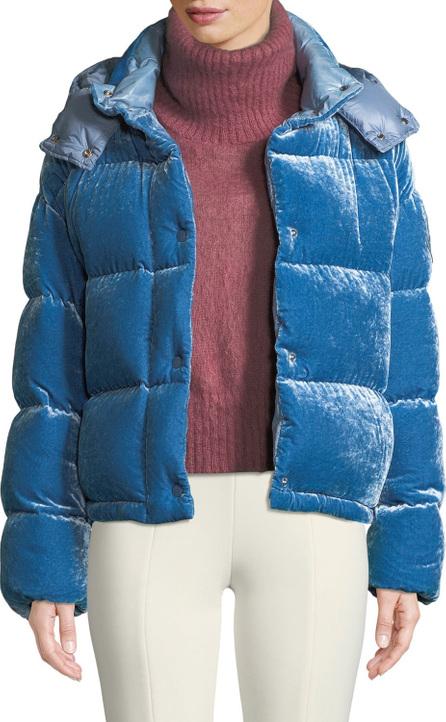 Moncler Caille Velvet Puffer Coat w/ Detachable Hood