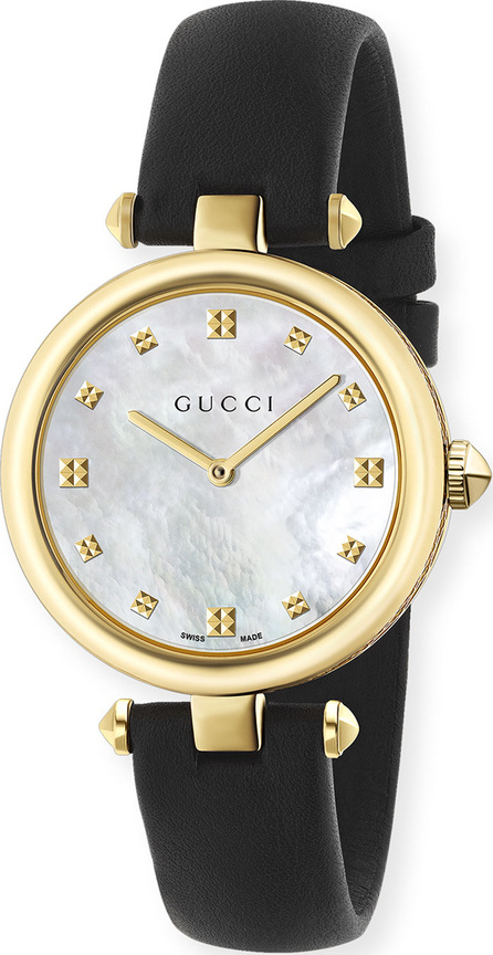 Gucci 32mm Diamantissima Watch w/ Leather Strap, Black/Golden