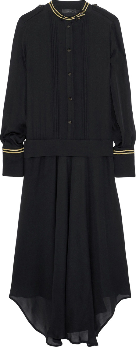 Belstaff Mareena pleated lamé-trimmed silk-chiffon midi dress