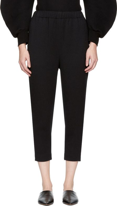 Enfold Black Twill Relaxed Lounge Pants